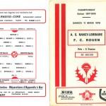 Programme saison 77-78 Nancy Rouen 11-03-78