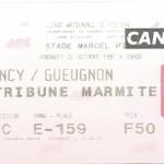 Billet Nancy-Gueugnon - Saison 1997-1998 - D2 (18e j., 31 10 1997)