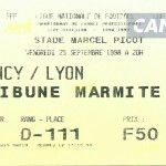 Billet Nancy-Lyon - Saison 1998-1999 - D1 (07e j., 25 10 1998)