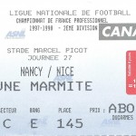 Billet Nancy-Nice - Saison 1997-1998 - D2 (27e j., 21 01 1998)