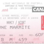 Billet Nancy-Niort - Saison 1997-1998 - D2 ( 25e j., 13 12 1997)