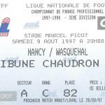 Billet Nancy-Wasquehal - Saison 1997-1998 - D2 (02e j., 09 08 1997)