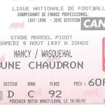 Billet Nancy-Wasqueham - Saison 1997-1998 - D2 (02e j., 09 08 1997)
