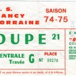 Billet Nancy-St-Étienne - Saison 1974-1975 – Coupe de France (8e de finale aller, 12/04/1975)