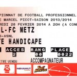Billet Nancy-Metz - Saison 2013-2014 - L2 (26e j 01/03/2014)