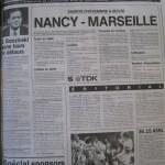 Programme Nancy-Marseille - Saison 1990-1991 – D1 (15e j., 03/11/1990) - Supplément à L'Est républicain du 02/11/1990