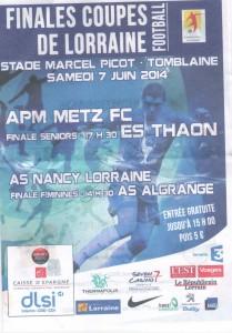 Programme Nancy-Algrange féminines - Saison 2013-2014 - Coupe de Lorraine (finale, 07:06:2014)