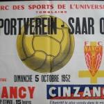 Affiche FC Nancy - Sportveren Saar 05 - saison 1951 1952