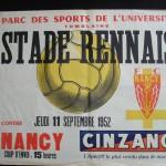 Affiche FC Nancy - Stade Rennais - saison 1952 1953