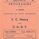 Programme CORT Roubaix - FC Nancy - 1950 1951 27eme journée