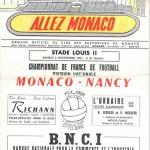 Programme Monaco - FC Nancy - saison 1961 1962