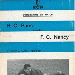Programme Racing Paris FC Nancy saison 1962 1963 14eme journée
