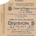 Ticket Coupe de France Stade Reims FC Nancy  saison 1961 1962 (11-03-1962)