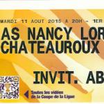 Billet abonné Nancy - Chateauroux - Saison 2015 - 2016 - Coupe de la Ligue (1e tour, 11:08:2015)