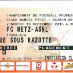 Billet retransmission écran géant Metz-Nancy - Saison 2015-2016 - L2 (7e j., 18/09/2015)