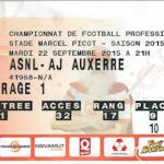 Billet Nancy Auxerre - Saison 2015-2016 - L2 (8e j 22/09/2015)