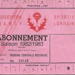 Carte abonnement saison 1982 1983