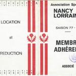 Carte membre associé 1977 1978
