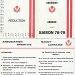 Carte membre associé 1978 1979
