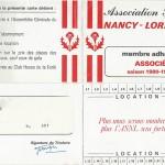 Carte membre associé 1980 1981