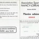 Carte membre associé 1983 1984