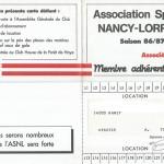 Carte membre associé 1986 1987