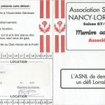 Carte membre associé 1987 1988
