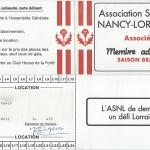 Carte membre associé 1988 1989
