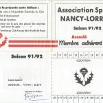 Carte membre associé 1991 1992
