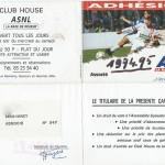 Carte membre associé 1994 1995
