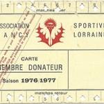 Carte membre donateur saison 1976 1977