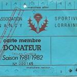 Carte membre donateur saison 1981 1982