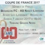 Billet Besançon-Nancy - Saison 2016-2017 - Coupe de France (32e de finale, 07:01:2017)