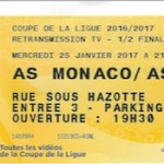 Billet Monaco-Nancy - Saison 2017-2018 - Demi-finale Coupe de la Ligue (25-01-17)
