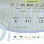 Billet Lyon Nancy Saison 2016-2017 L1 24ej 08-02-2017